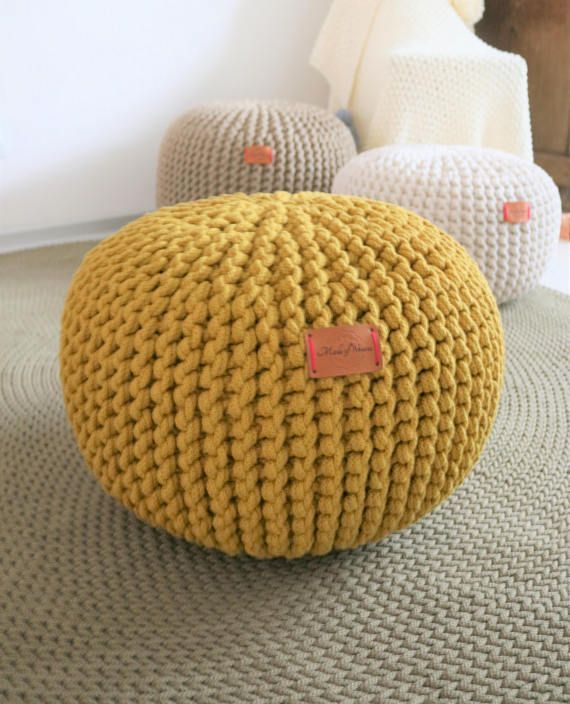 Yellow Mustard Pouf Chunky Knitted Pouf Knit Pouf Nursery Decor Beauteous Yellow Knit Pouf