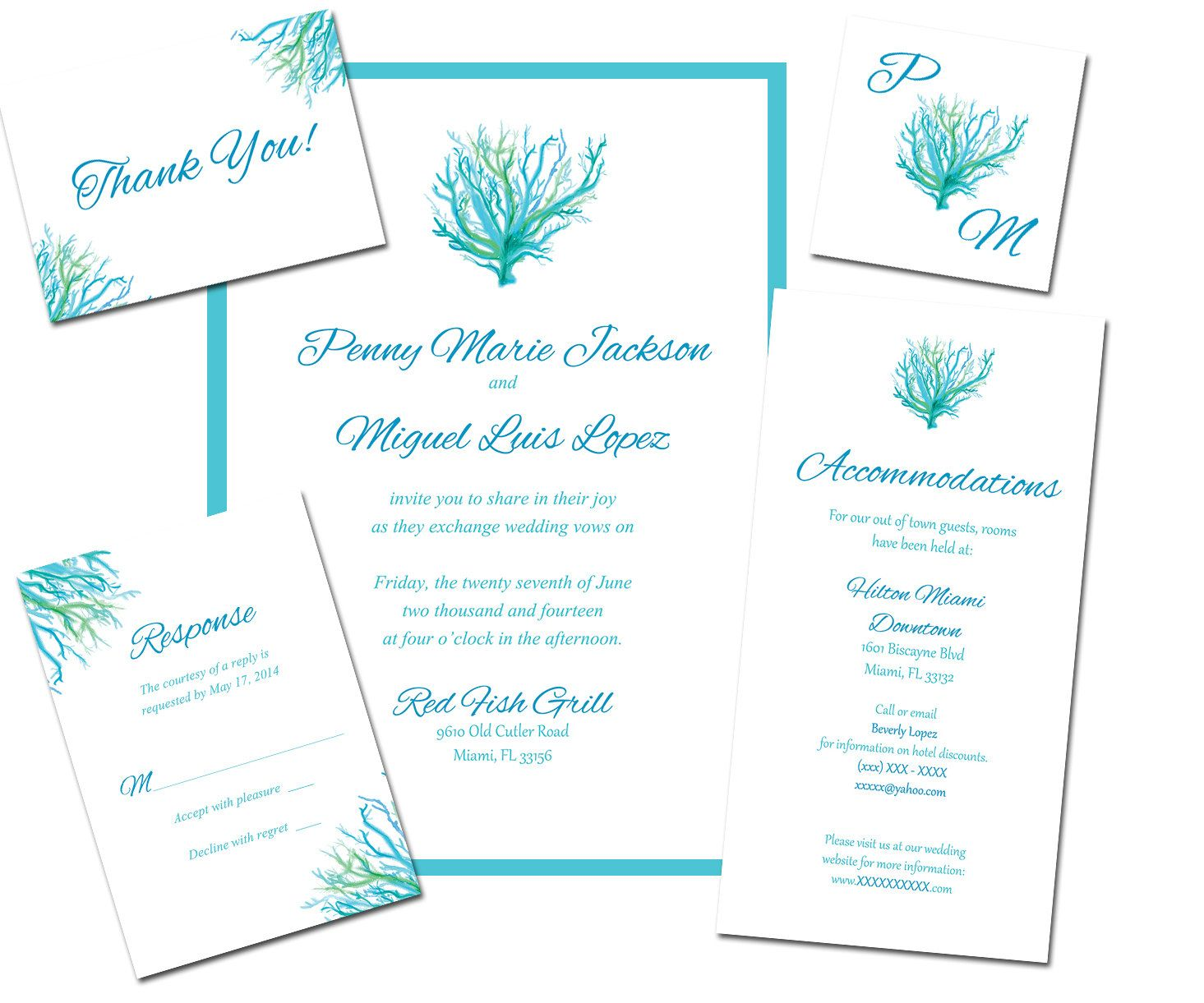 HAND PAINTED Coral Sea Theme printable DIY wedding invitations from ...