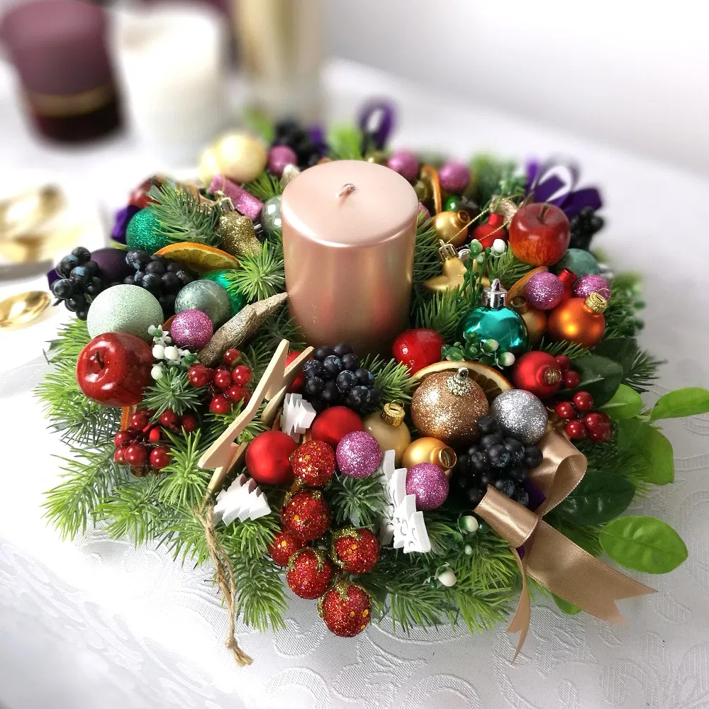 Wianek Na Stol Radosne Chwile Nr 106 Swiateczne Atelier Christmas Wreaths Table Decorations Decor