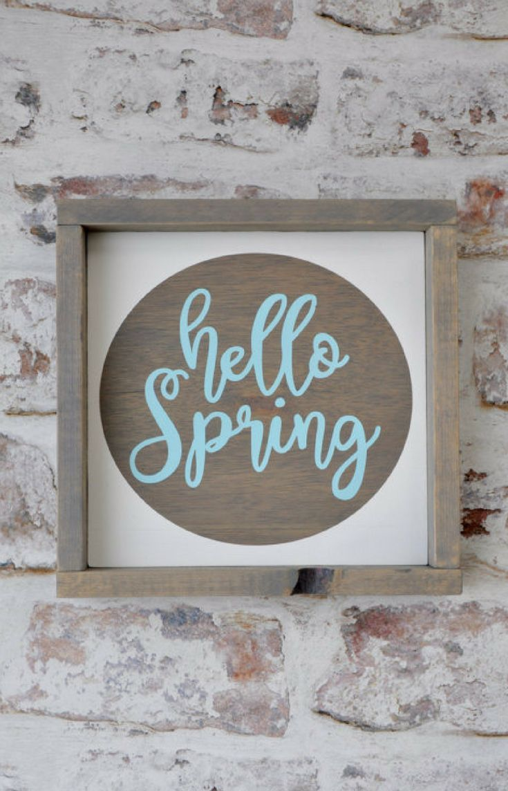 Rustic Wood Framed Hello Spring Sign