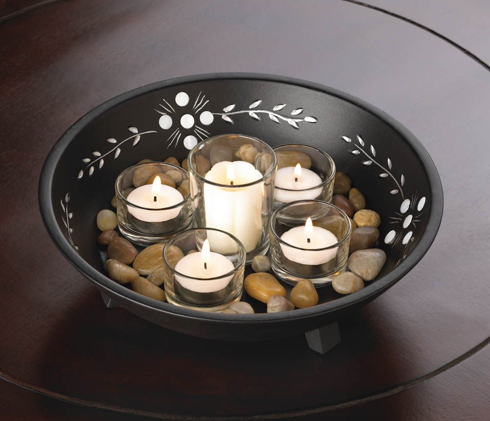5 Glass Votive Candle Holders In A Wood Bowl With River