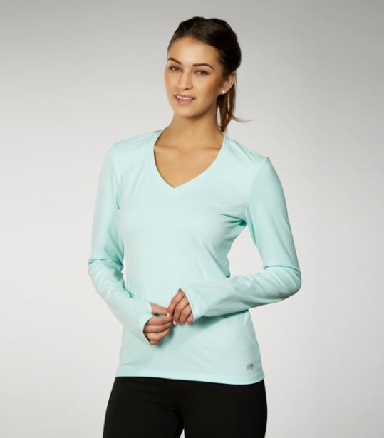 Long-sleeve top features moisture-wicking fabric