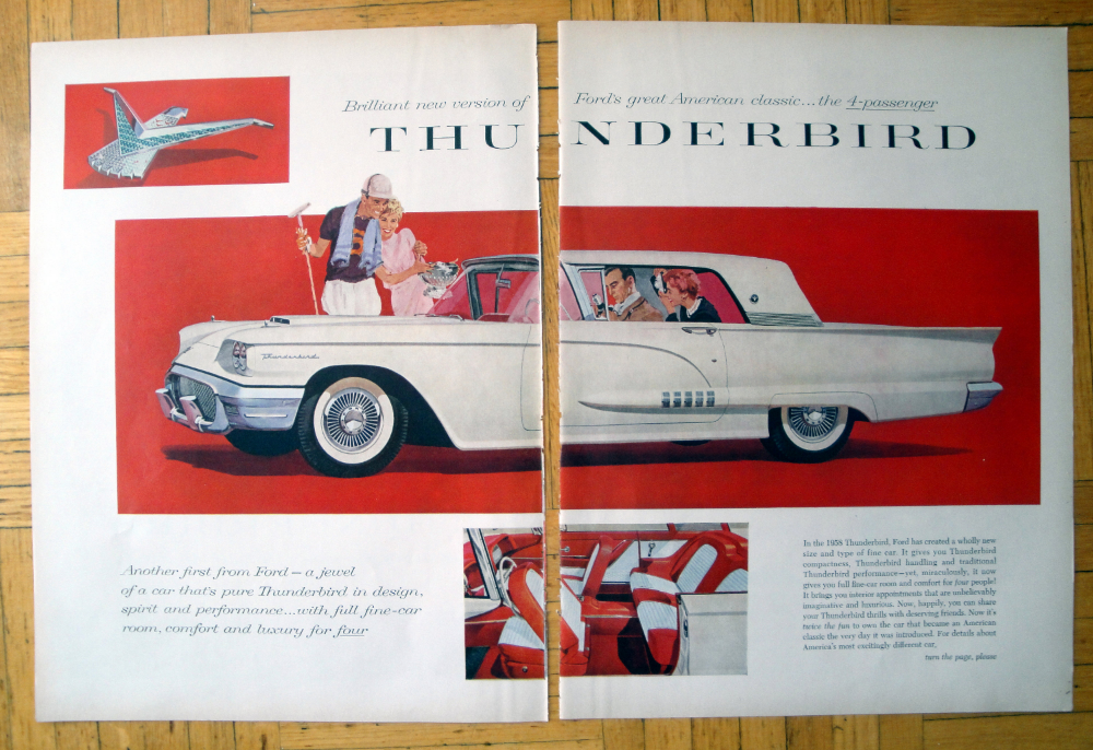 1958 Ford Thunderbird 2 Door 4 Seater Original 2 Page 13 5 10 5 Magazine Ad Ford Thunderbird Ford Ford Motor Company