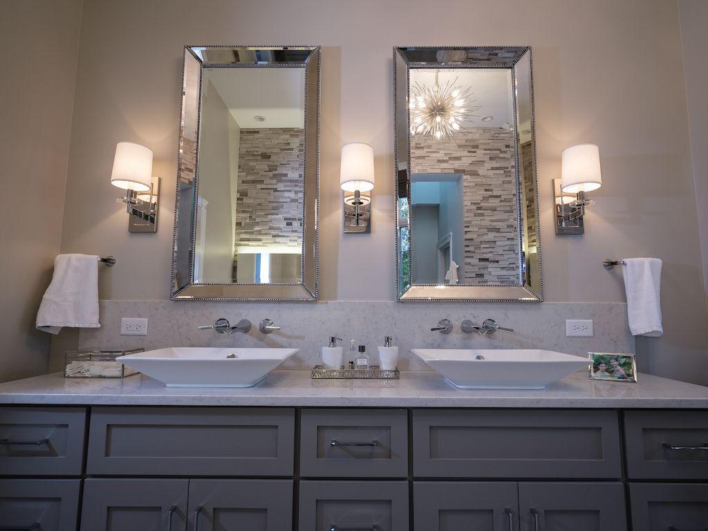 Master Bathroom Double Bowl Vanity Vessel Sinks Wall Sconces Decorative Mirrors Wall Bathroom Sconces Bathroom Wall Light Fixtures Bathroom Vanity Sconces [ 768 x 1024 Pixel ]