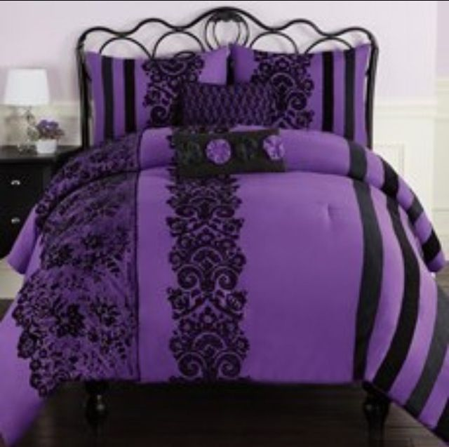 Purple And Black Comforter I Need This Bed Set For My Bed