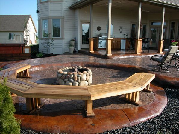 Stamped Concrete Patio W. Firepit Just Add A Circular Area For Benches And  Free Standing