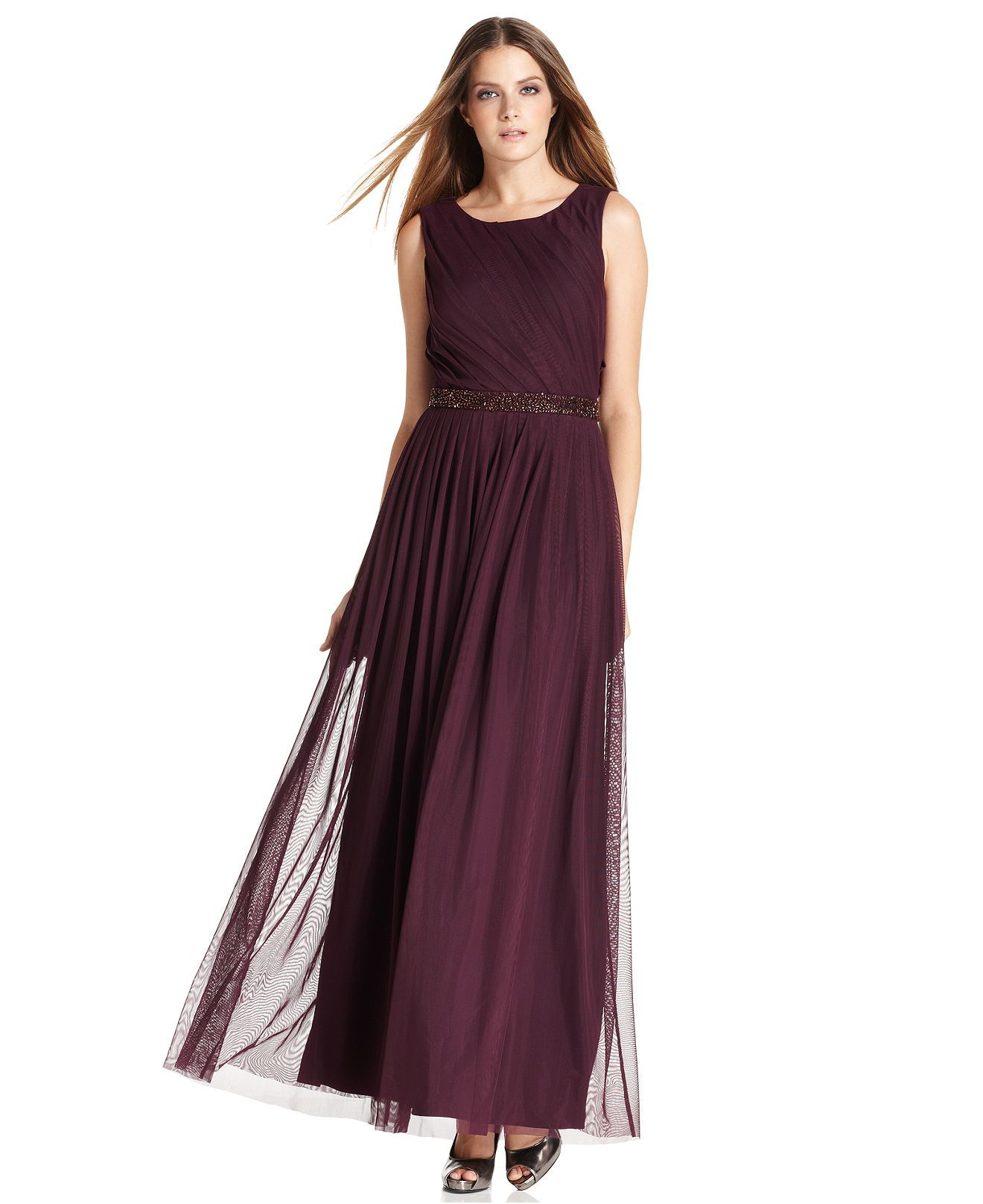 Calvin Klein Dress, Sleeveless Pleated Beaded Evening Gown - Womens ...