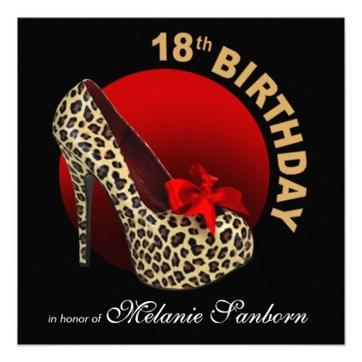Funky Leopard Stiletto 18th Birthday black red Personalized