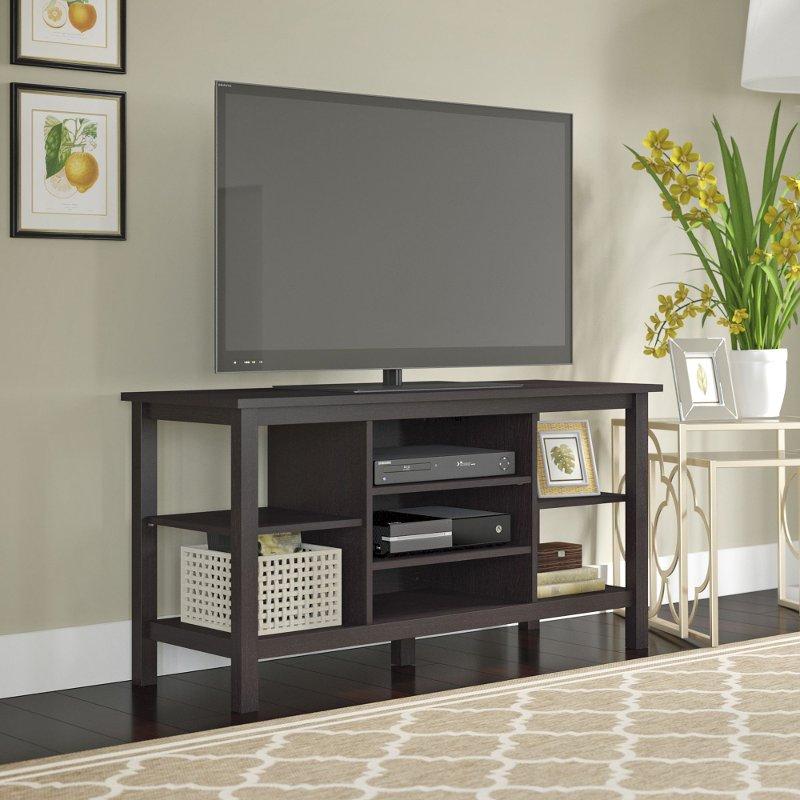 Espresso Brown Oak Modern 55 Inch Tv Stand Broadview Bush Furniture Oak Tv Stand Furniture Tv table for 55 inch tv