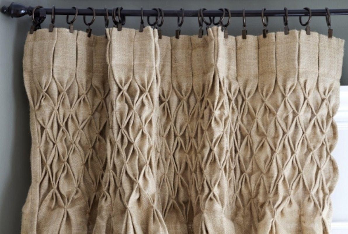 Hand Smocked Jute Curtain Panel Burlap Curtains Drop Cloth