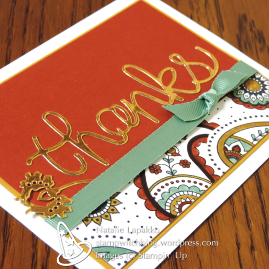 Autumn thank you with Hello You thinlits and Paisleys and Posies thinlits from Stampin' Up! Design by Natalie Lapakko.