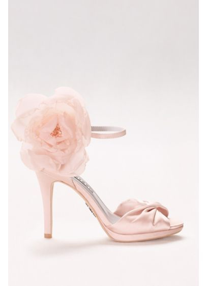 4c0bd85a8dee5e Twisted Satin Peep-Toes with Chiffon Flower VWS41205 | Wedding Shoes ...