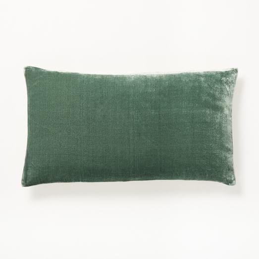 luxe velvet lumbar pillow cover blue