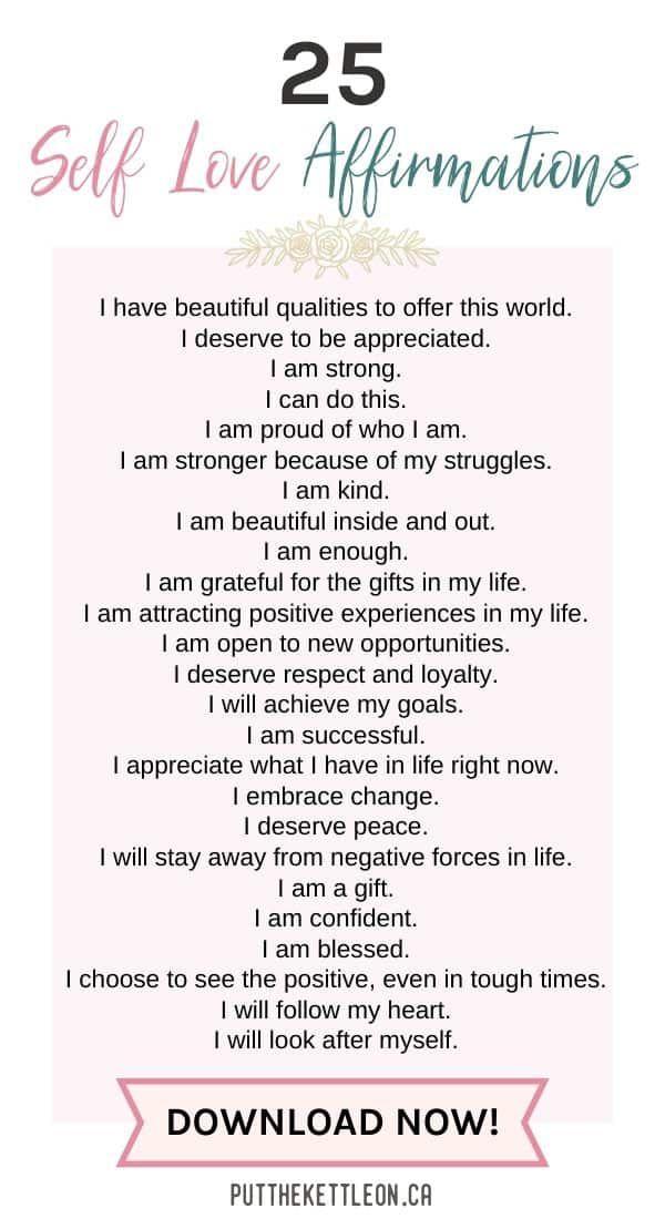 25 Positive Self Love Affirmations + Free PDF Worksheet