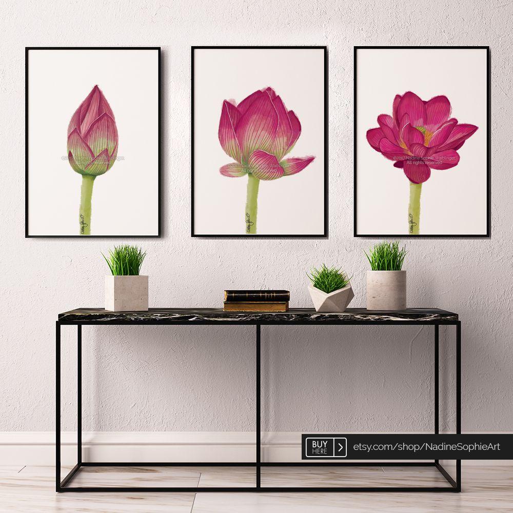 Lotus Flower Art Print, Set Of 3, Blooming Lotus, Lotus Painting, Yoga Art,  Lotus Wall Art, Lotus Poster, Zen Wall Art, Flower Wall Decor