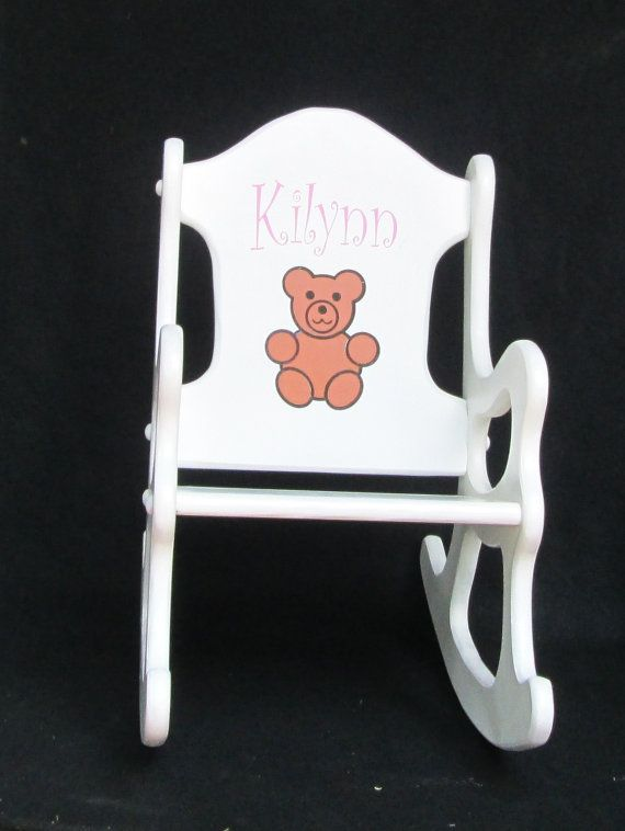 Wooden Rocking Chair Withteddy Bear Exquisit Keep Sakes