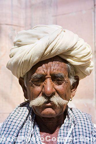 Old Man Wearing A White Turban, Osian, Rajasthan, India -5948