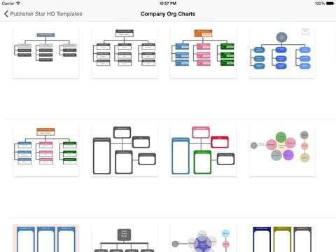 iPad App Company Org Charts - Templates for Publisher Star HD