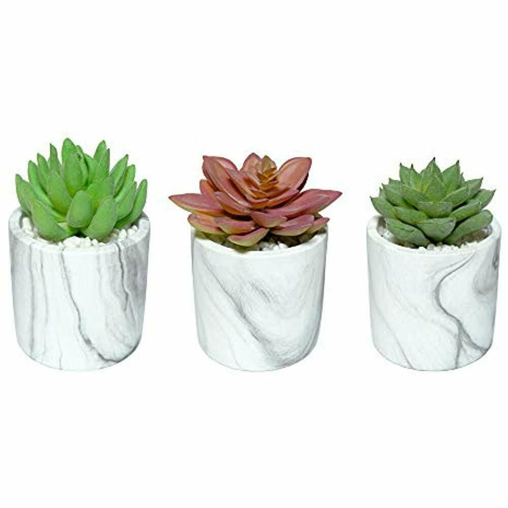 Set Of 3 Artificial Succulent Plants In Marble Pots Potted Faux Cute Cement Artificial Succulent Plants Artificial Succulents Small Artificial Succulents