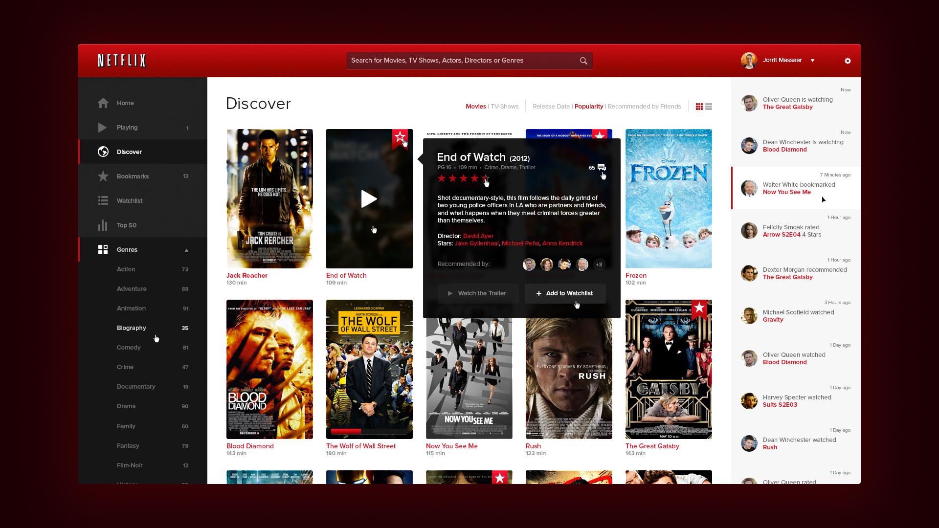 Netflix UI Design UI/UX Pinterest Ui design and Ui ux