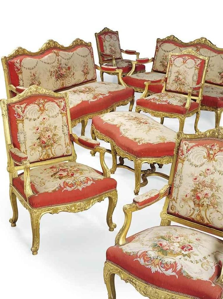 A FRENCH GILTWOOD AND TAPESTRY SEVENPIECE SALON SUITE