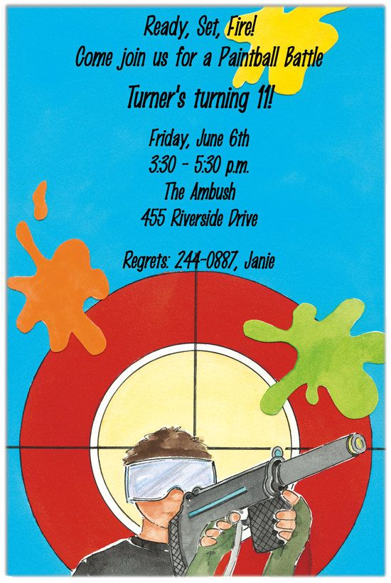 free printable paintball party invitations | paintball party, Birthday invitations