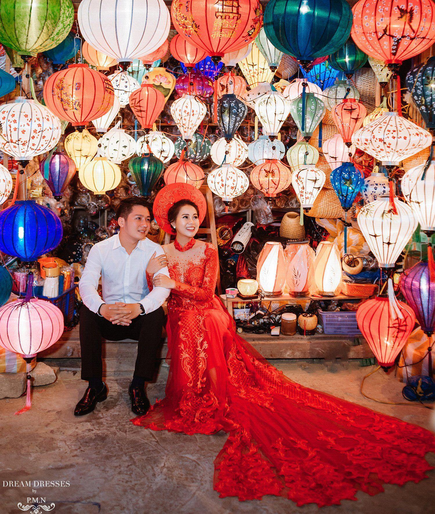 Red Ao Dai Custom Made Vietnamese Bridal Dress (TATIA