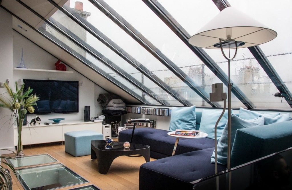 Verrière de toit et puits de lumière dans un duplex Lofts, Loft - puit de lumiere maison