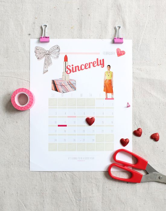 Download this 2013 calendar and glue a few things to it that inspire