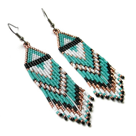 Beautiful Turquoise Beaded Earrings Made Of Tiny Anese Seed Beads Miyuki Delica Ear Wires Are Surgical Steel Ethnic Boho Style