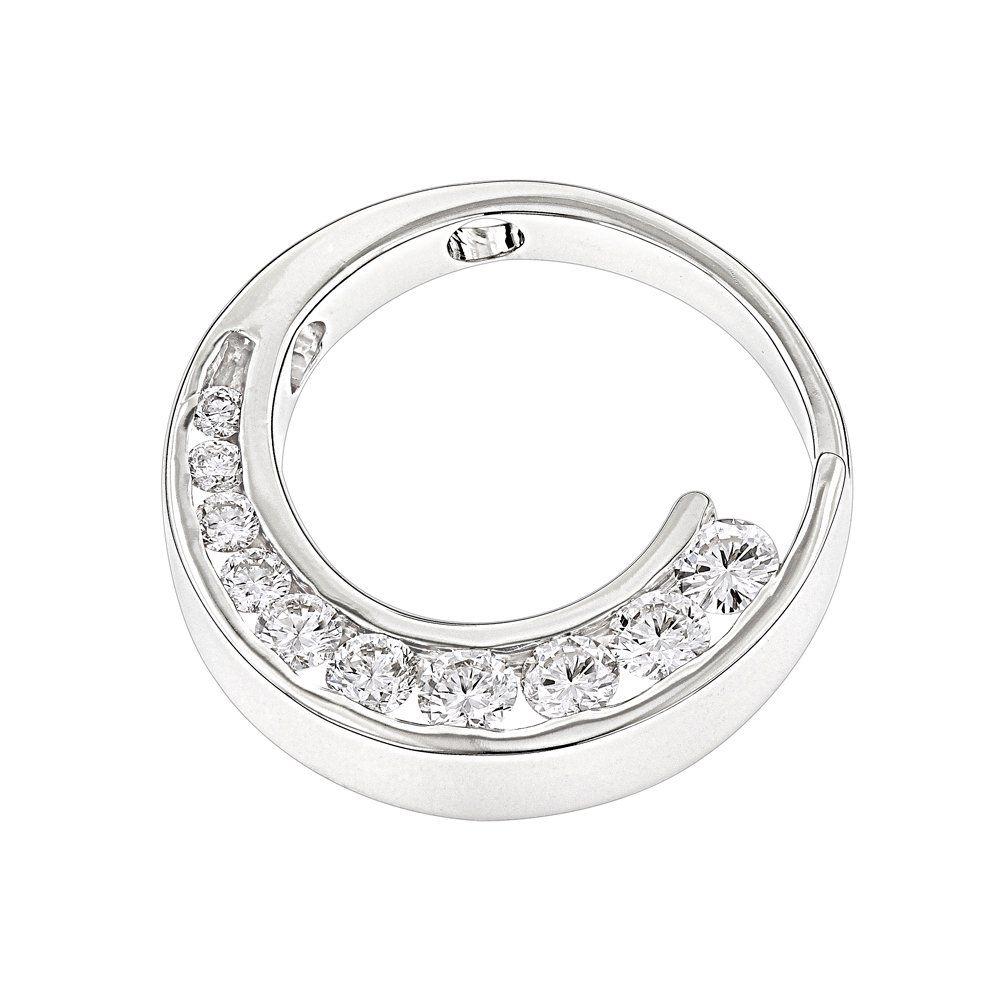 14k Gold Journey Diamond Pendant Circle 1ct 10 Year Anniversary Present Diamond Pendant Womens Jewelry Necklace Pendant