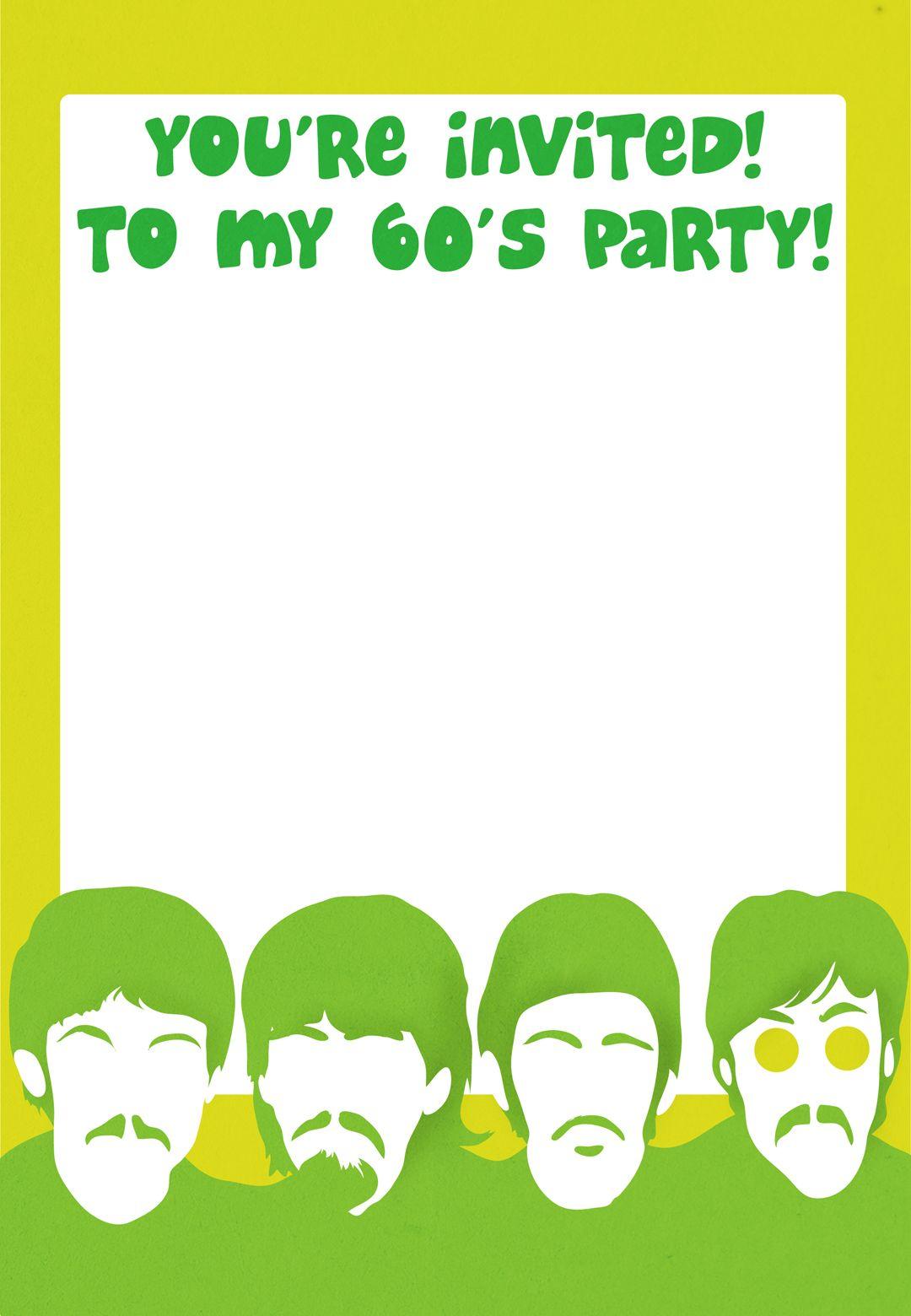 Free Printable 60S Party Invitation | 60s | Pinterest ...