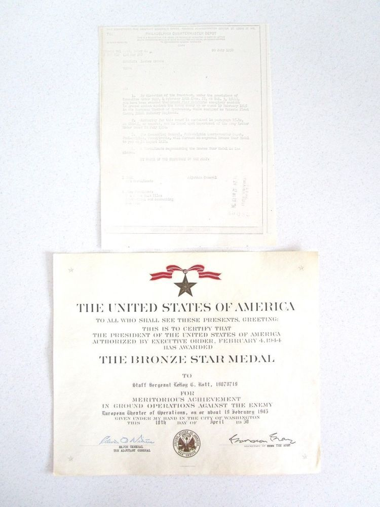 Us Army Bronze Star Medal Award Certificate Letter Embossed Signed