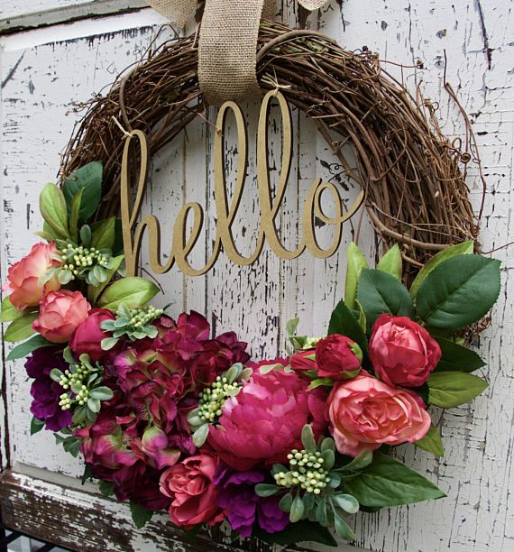 Summer Wreath Hello Welcome Cottage Chic Spring Door Front Grapevine Decor Awakens With