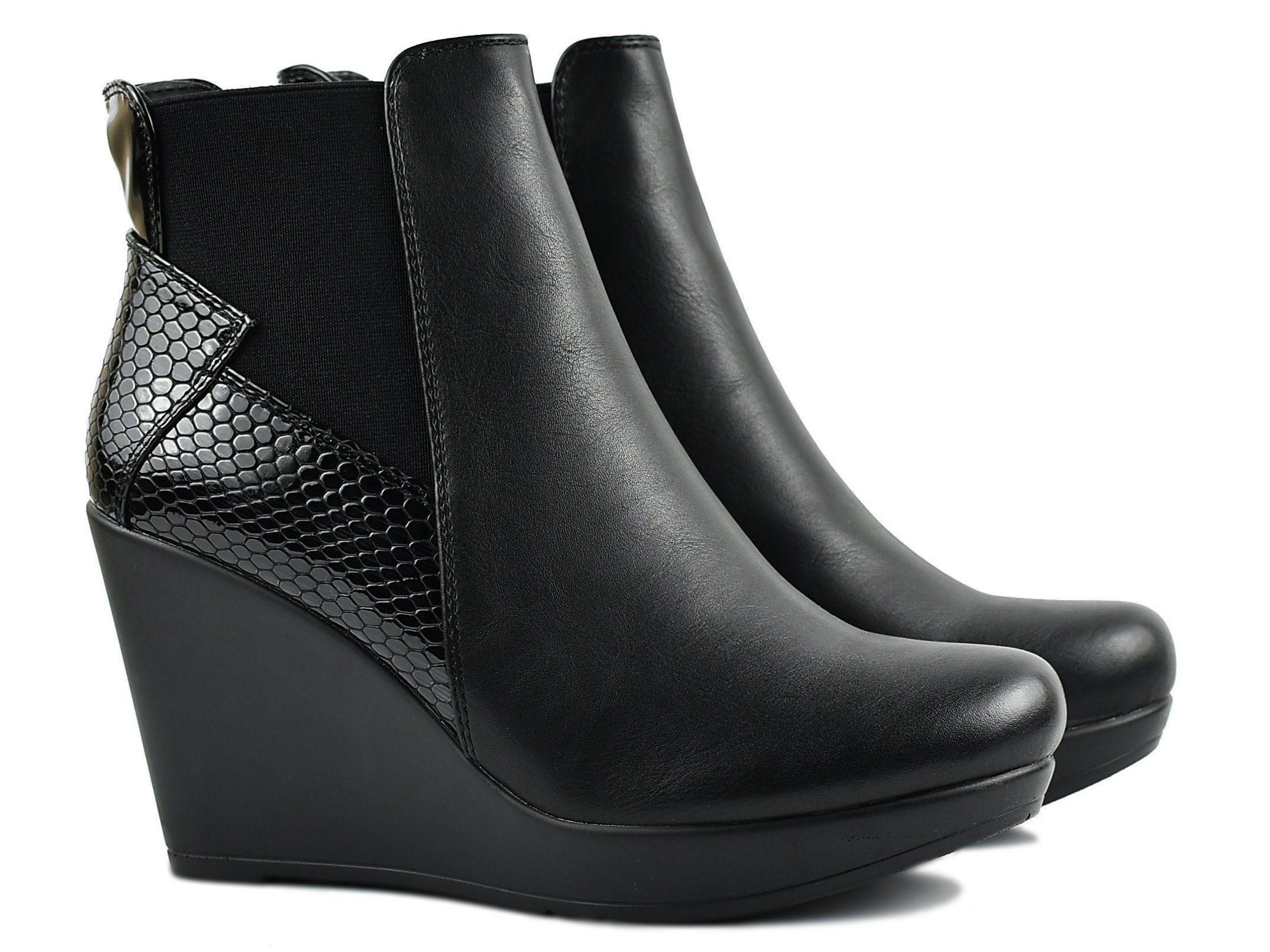Sergio Leone Botki Koturny Platformy Ocieplane 6536878930 Oficjalne Archiwum Allegro Boots Shoes Wedge Boot