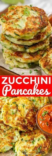 These zucchini pancakes are one of my favorite snacks without all of the guilt