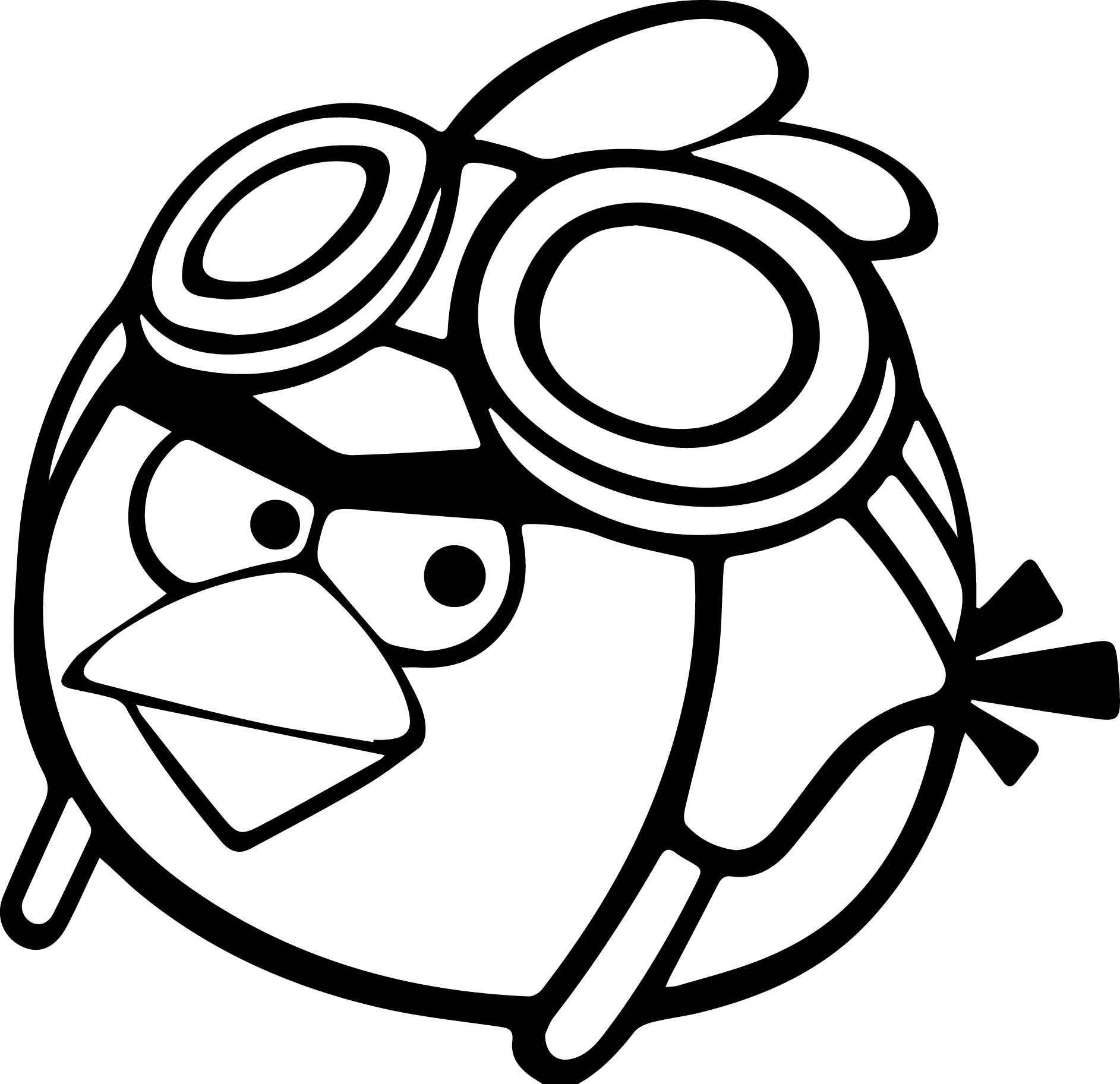 cool Pilot Angry Birds Coloring Page