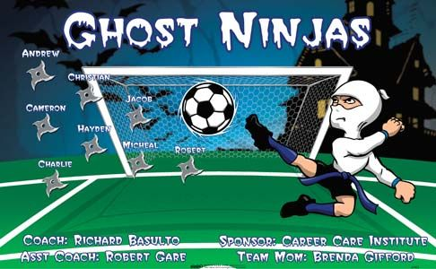 Ninjas-Ghost-41422 digitally printed vinyl soccer sports team banner. Made in the USA and shipped fast by BannersUSA. www.bannersusa.com