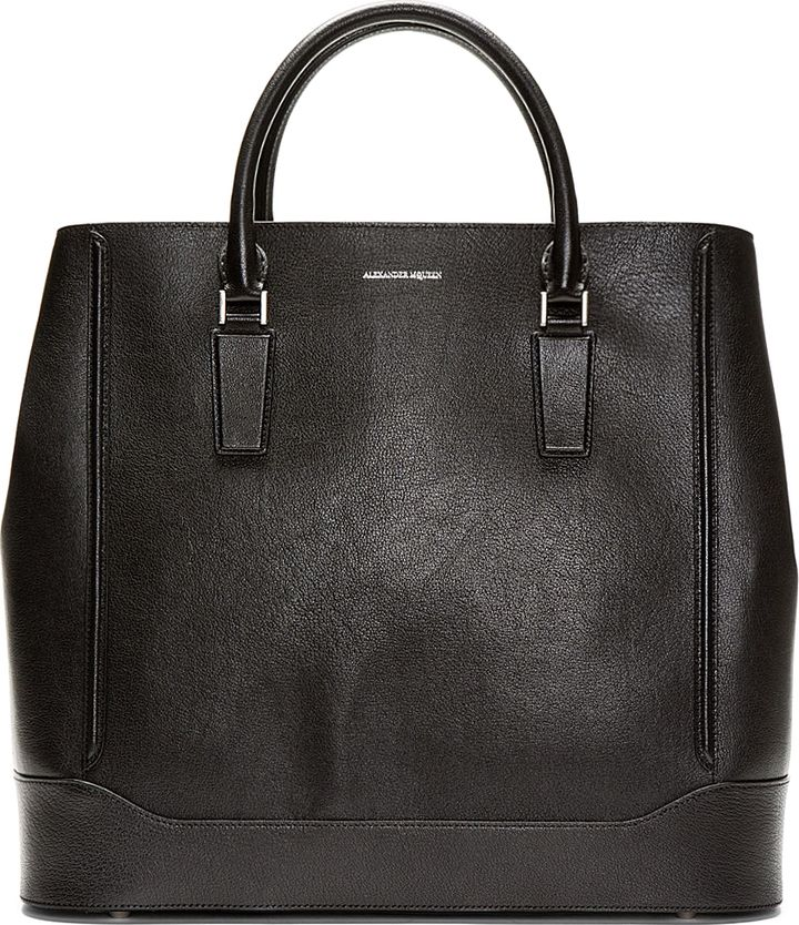 Alexander McQueen Black Leather Oversize Heroic Tote on shopstyle ... 3644aab252