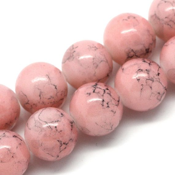 12mm Rose Pink And Black Swirl Marble Glass Beads 30 Beads Etsy Glass Beads Pink Roses Beads