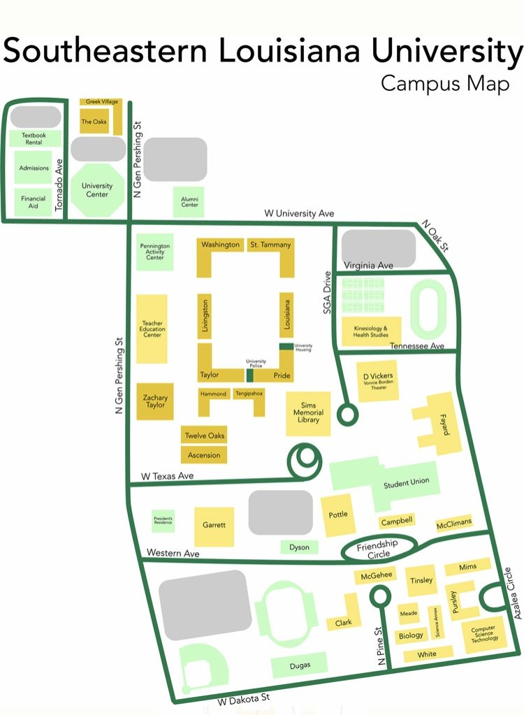 southeastern louisiana university campus map Pin By Rachel D Arensbourg On Kyla S Graphic Designs southeastern louisiana university campus map