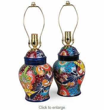 Small Talavera Ginger Jar Lamp Base