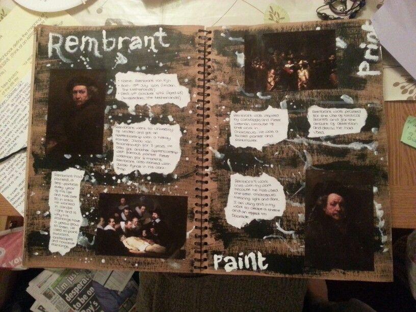 AS Level Art sketchbook. Theme of Dockside - Rembrant - artist links (Megan Clarke)