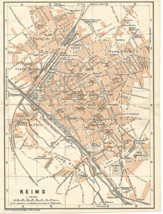 carte de 1905 de reims france antique par mofferscollectables