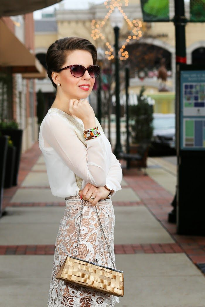 Subtle Sexy | Winter White, Lace  I felt my most feminine self while wearing this gorgeous crochet skirt from Chicwish paired with my favorite sheer blouse.