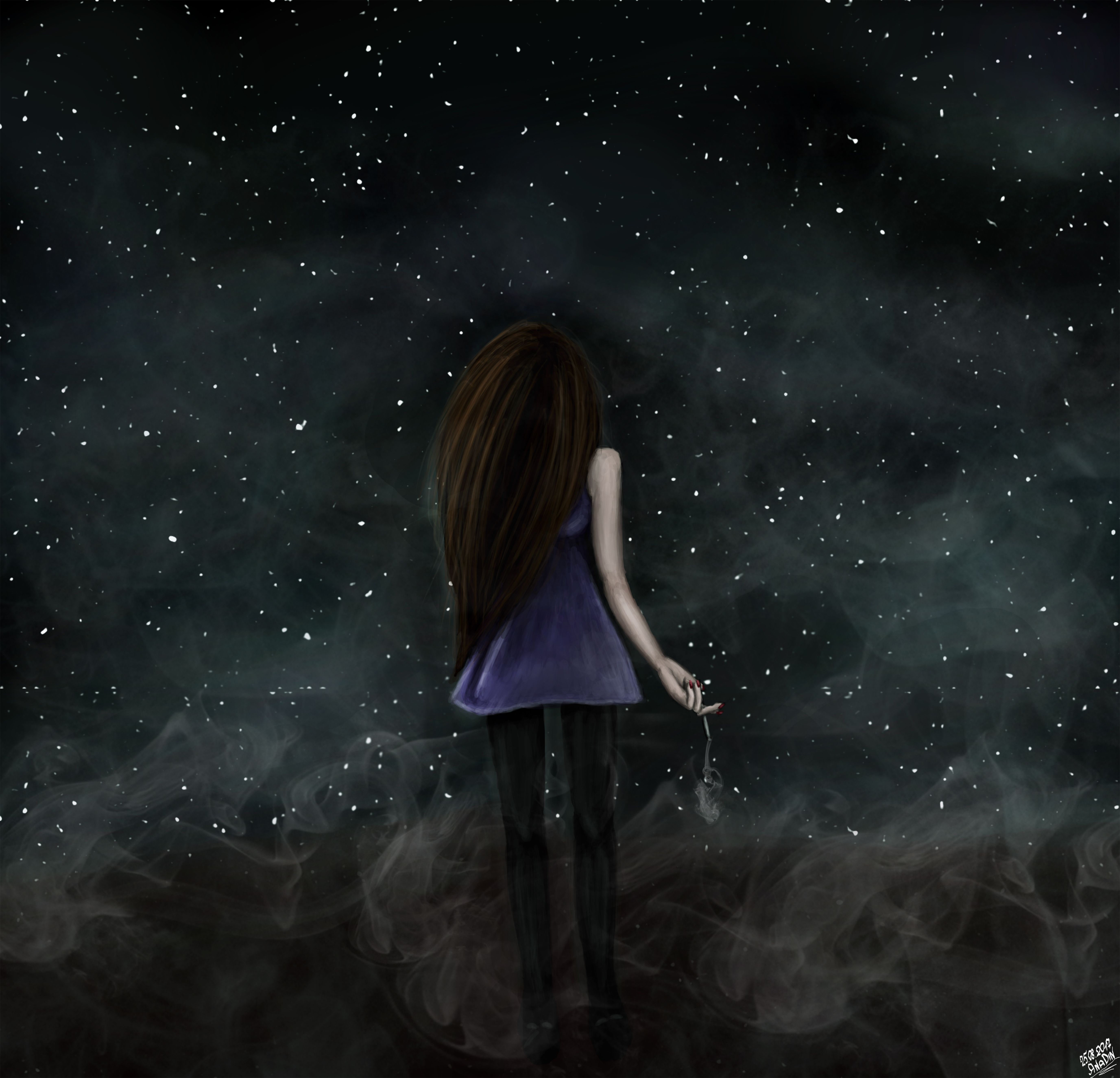 Universe stars smoke sad alone girl art drawing