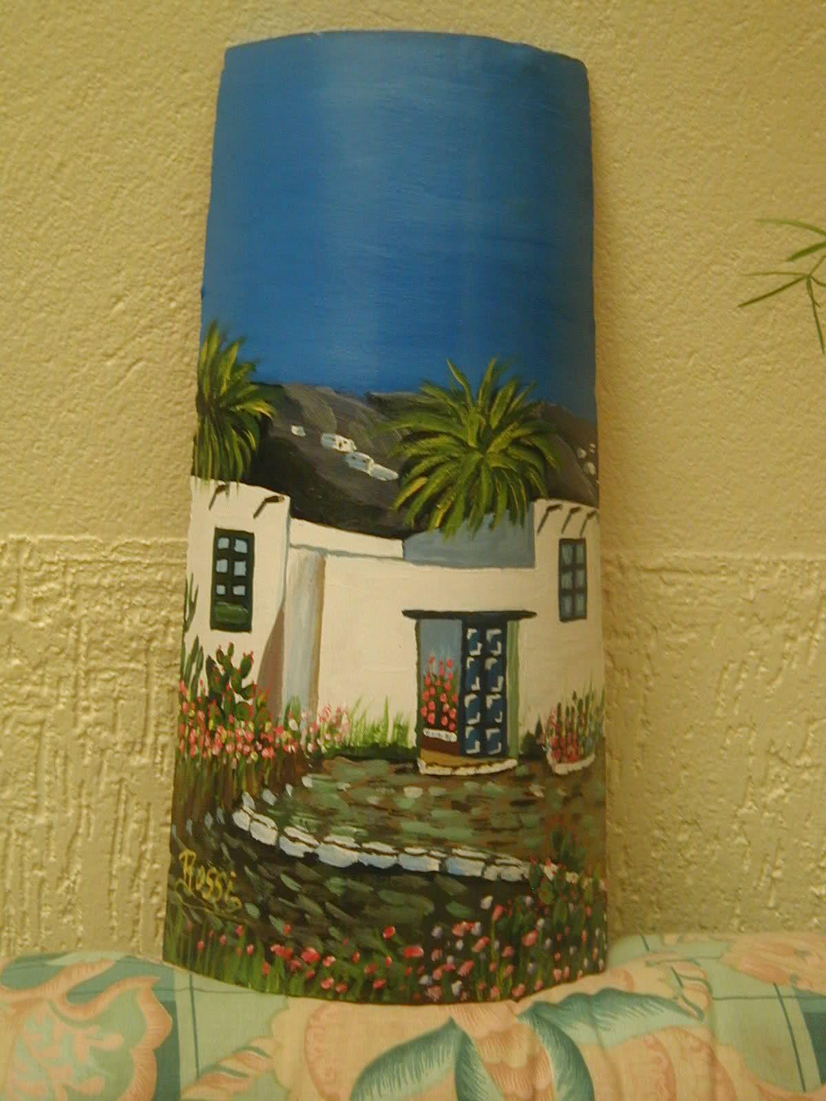Imagen tejas decoradas paisajes dibujos pinturas y pintar - Pintar tejas de barro ...