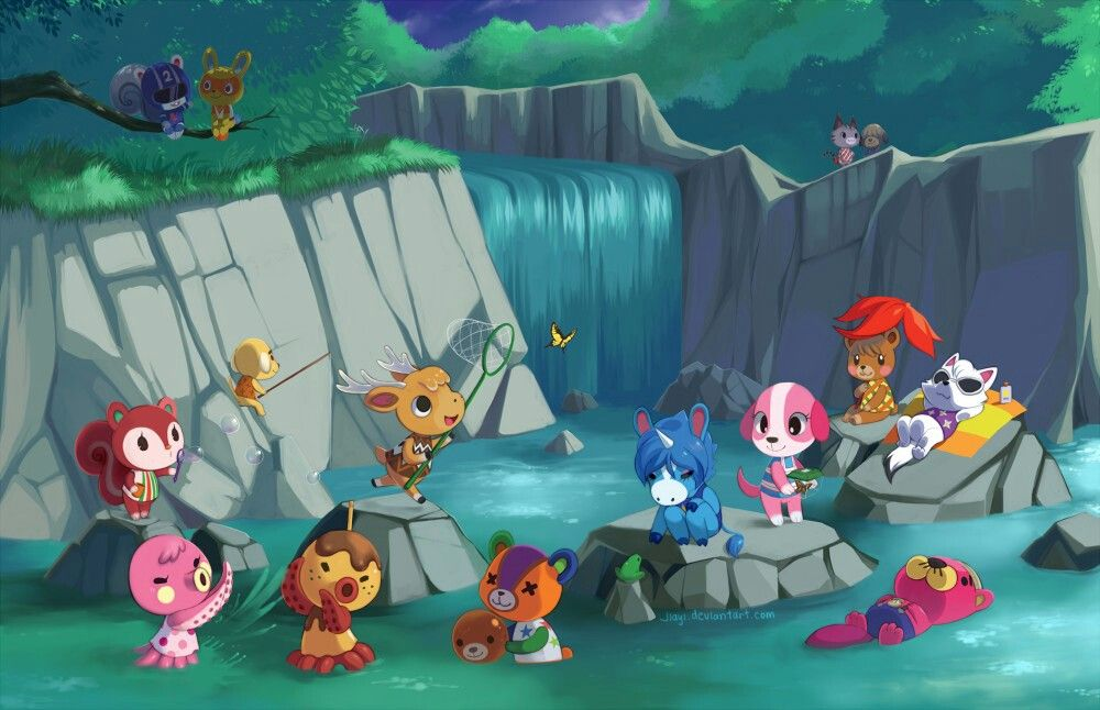 Animal Crossing Waterfall