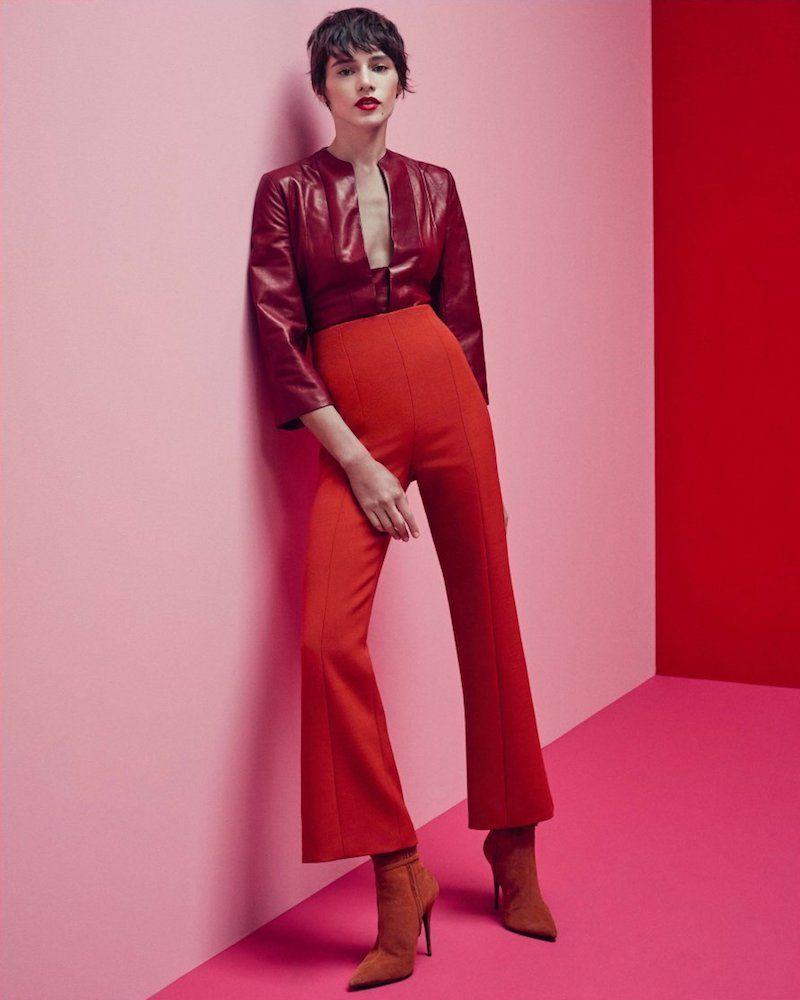 Narciso Rodriguez Plongé Leather Split-Neck Top | Favor Style|Women ...
