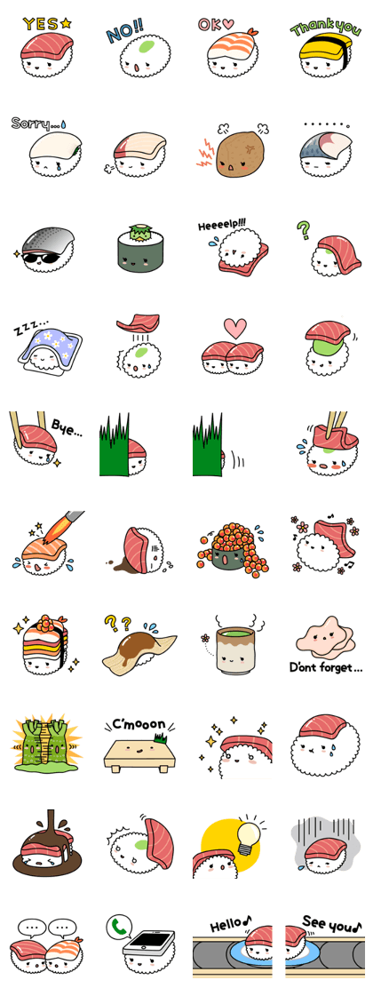 Cute & yummy SUSHI stickers! | stikers/pegatinas | Pinterest ...